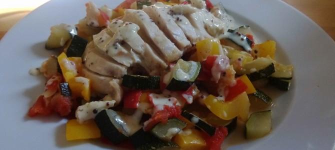 Poulet aux légumes du soleil & sa sauce camembert